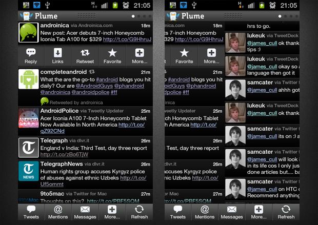نرم افزار Plume for Twitter نرم افزار سفارش سازی توییتر